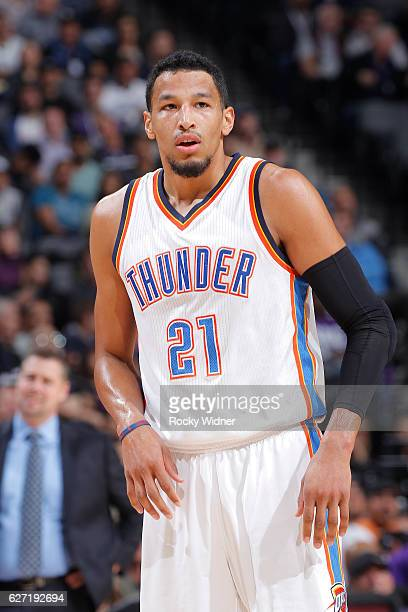 Andre Roberson of the Oklahoma City Thunder looks on during the game against the Sacramento Kings on November 23 2016 at Golden 1 Center in...