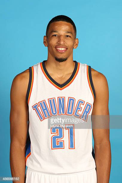 Andre Roberson of the Oklahoma City Thunder poses for a portrait during 2014 NBA Media Day on September 29 2014 at the Thunder Events Center in...