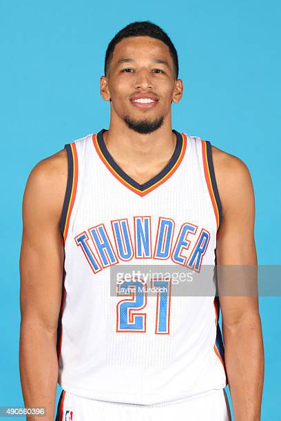 Andre Roberson of the Oklahoma City Thunder poses for a portrait during 2015 NBA Media Day on September 28 2015 at the Thunder Events Center in...