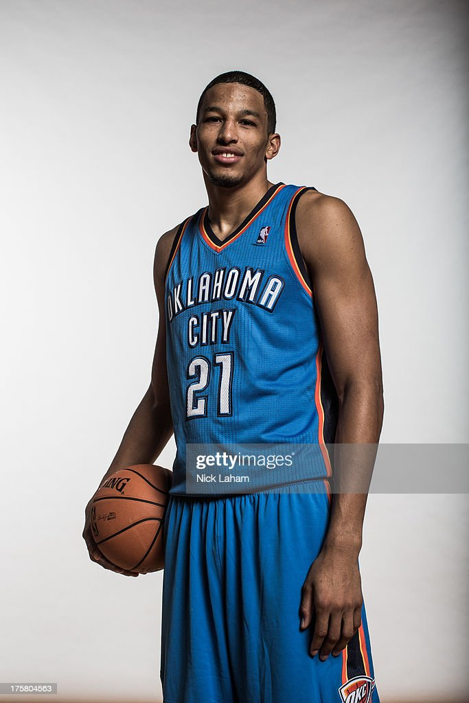 Andre Roberson #21 of the Oklahoma City Thunder poses for a portrait during the 2013 NBA rookie photo shoot at the MSG Training Center on August 6, 2013 in Greenburgh, New York.