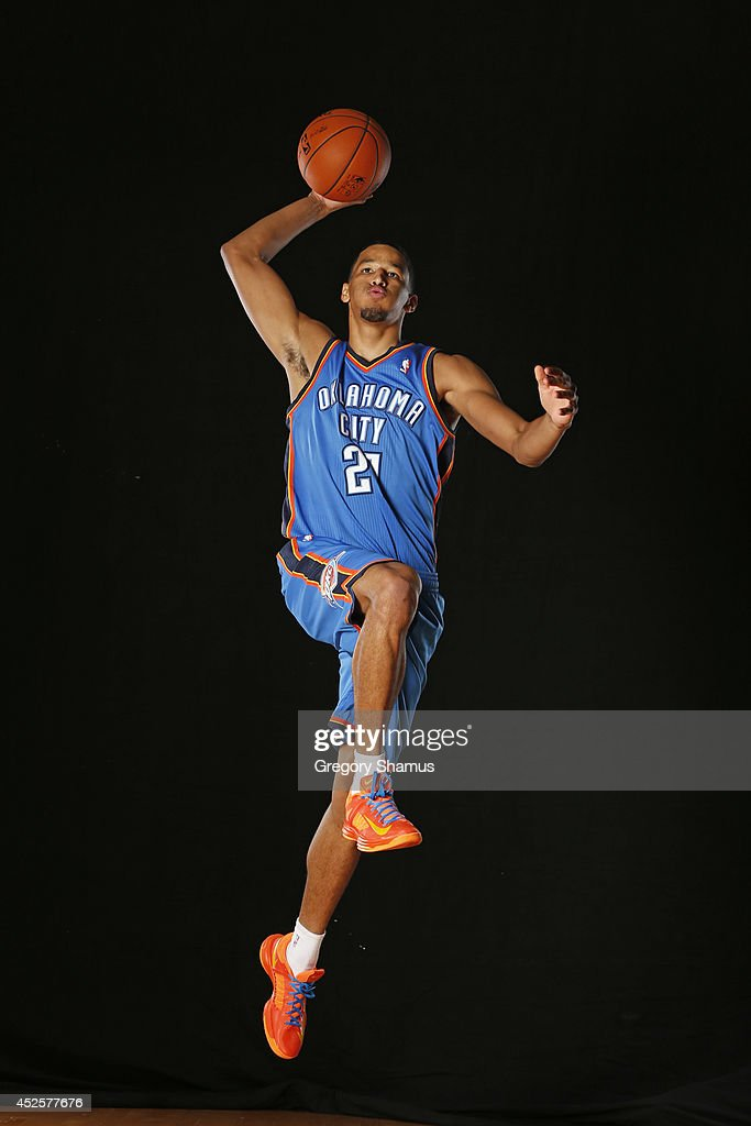 Andre Roberson #21 of the Oklahoma City Thunder poses for a portrait during the 2013 NBA rookie photo shoot on August 6, 2013 at the Madison Square Garden Training Facility in Tarrytown, New York.