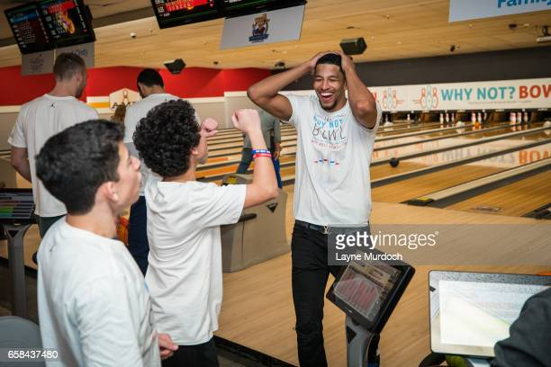 Andre Roberson of the Oklahoma City Thunder reacts to a frame during Russell Westbrook's 7th annual Why Not Foundation bowling event on March 24 2017...