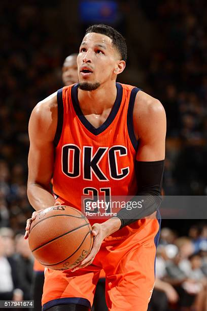 Andre Roberson of the Oklahoma City Thunder shoots a free throw during the game against the Toronto Raptors on March 28 2016 at the Air Canada Centre...