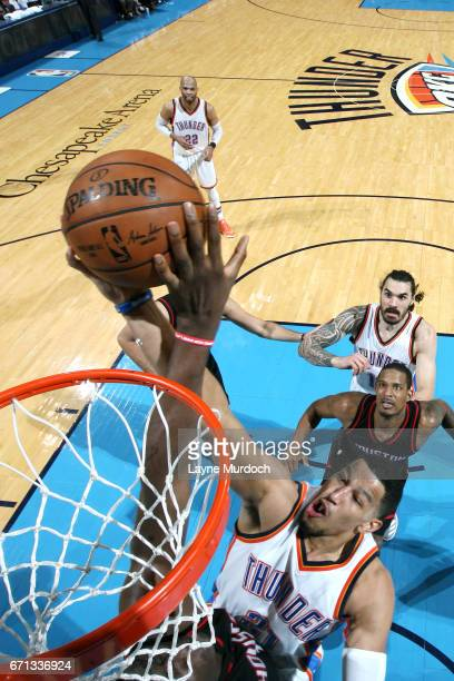 Andre Roberson of the Oklahoma City Thunder shoots a lay up during the game against the Houston Rockets during the Western Conference Quarterfinals...