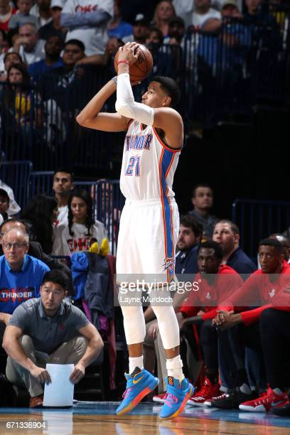 Andre Roberson of the Oklahoma City Thunder shoots the ball during the game against the Houston Rockets during the Western Conference Quarterfinals...