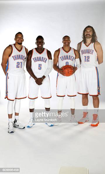 ¿Cuánto mide Victor Oladipo? - Real height Andre-roberson-victor-oladipo-russell-westbrook-and-steven-adams-of-picture-id609995458?s=594x594