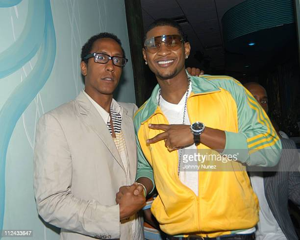 Andre Royo of 'The Wire' and Usher during 'PlanetMya' Mya Record Release Party at The Coral Room in New York City New York United States