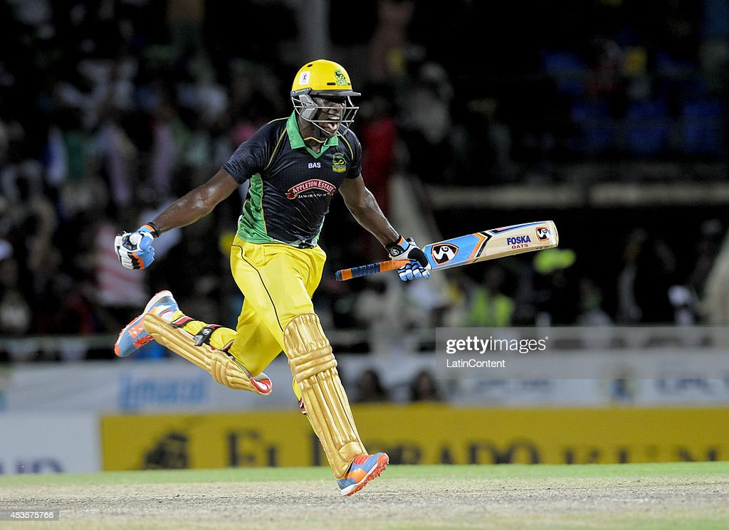 Andre Russell of Jamaica Tallawahs celebrates winning the Semifinal match between The Trinidad and Tobago Red Steel and Jamaica Tallawahs as part of the Caribbean Premier League 2014 at Warner Park on August 13, 2014 in Basseterre, St. Kitts and Nevis.