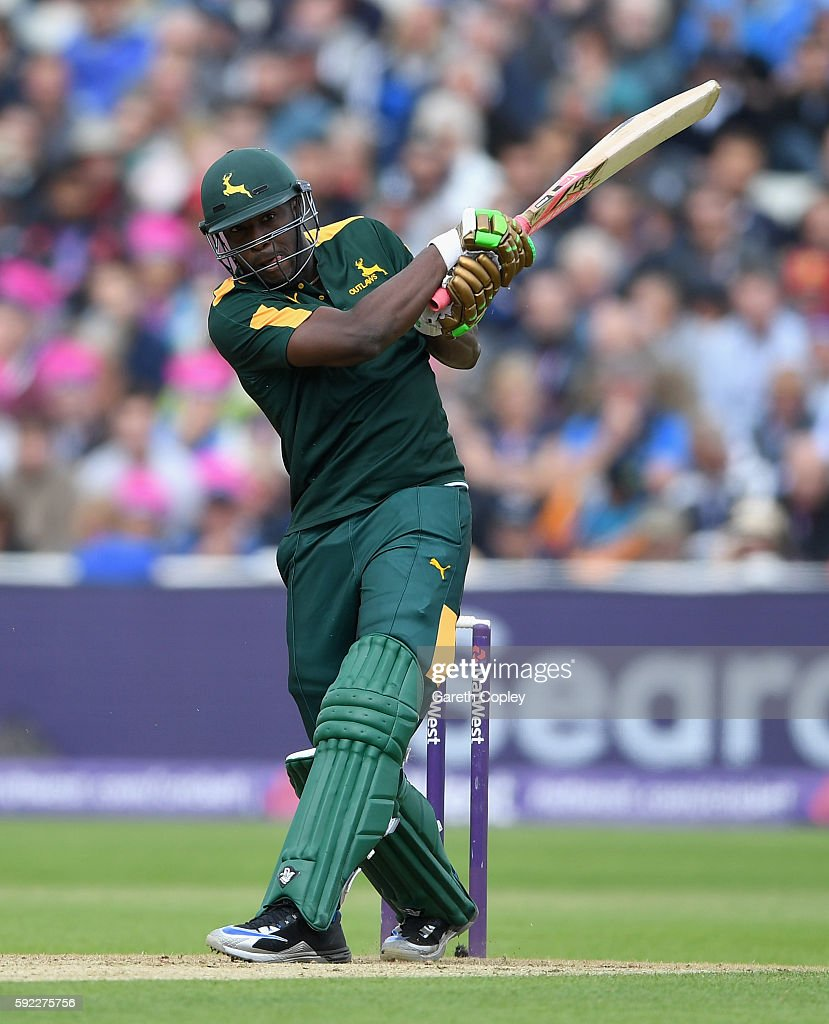 Andre Russell of Nottinghamshire hits out for six runs during the NatWest t20 Blast Semi Final between Northamptonshire and Nottinghamshire at...