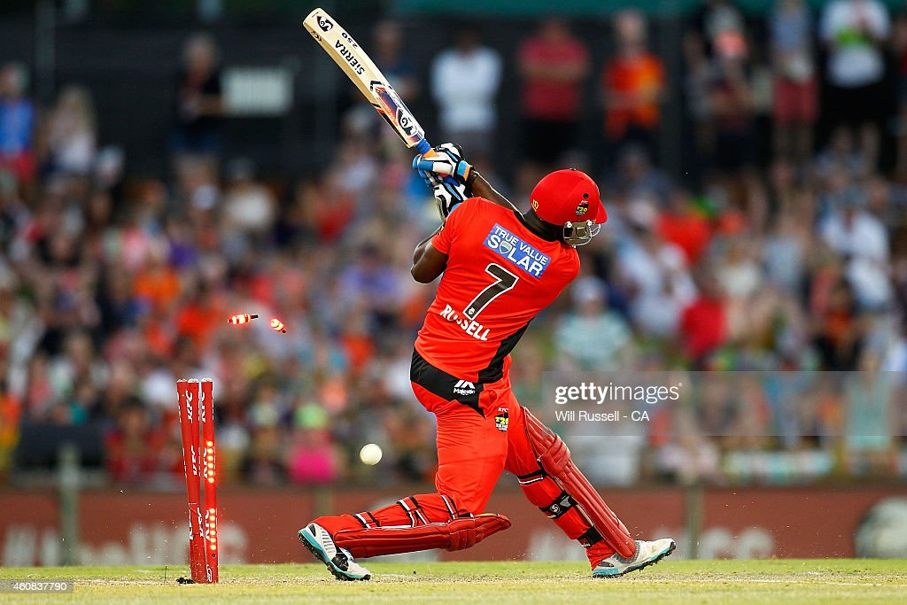 <a gi-track='captionPersonalityLinkClicked' href=/galleries/search?phrase=Andre+Russell&family=editorial&specificpeople=5348594 ng-click='$event.stopPropagation()'>Andre Russell</a> of the Renegades is bowled out by Yasir Arafat of the Scorchers during the Big Bash League match between the Perth Scorchers and the Melbourne Renegades at WACA on December 26, 2014 in Perth, Australia.