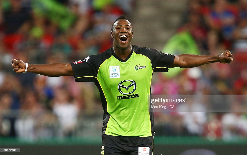 <a gi-track='captionPersonalityLinkClicked' href=/galleries/search?phrase=Andre+Russell&family=editorial&specificpeople=5348594 ng-click='$event.stopPropagation()'>Andre Russell</a> of the Thunder celebrates taking the wicket of Nathan Lyon of the Sixers during the Big Bash League match between the Sydney Thunder and the Sydney Sixers at Spotless Stadium on December 17, 2015 in Sydney, Australia.