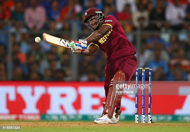 Andre Russell of the West Indies bats during the ICC World Twenty20 India 2016 Semi Final match between West Indies and India at Wankhede Stadium on...