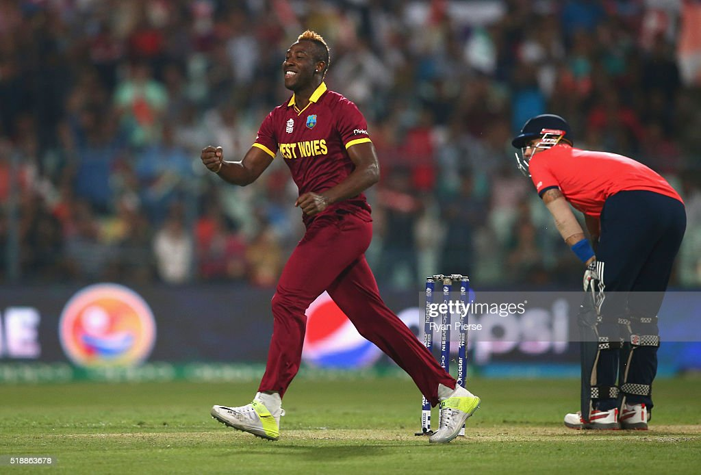 Andre Russell of the West Indies celebrates after taking the wicket of Alex Hales of England during the ICC World Twenty20 India 2016 Final match between England and West Indies at Eden Gardens on April 3, 2016 in Kolkata, India.
