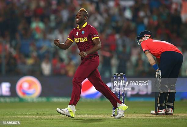 Andre Russell of the West Indies celebrates after taking the wicket of Alex Hales of England during the ICC World Twenty20 India 2016 Final match...