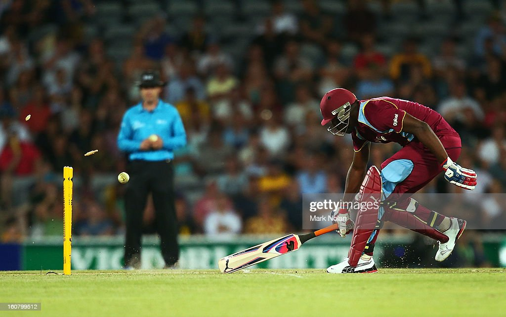 Andre Russell of the West Indies narrowly avoids a run out during the Commonwealth Bank One Day International Series between Australia and the West Indies at Manuka Oval on February 6, 2013 in Canberra, Australia.
