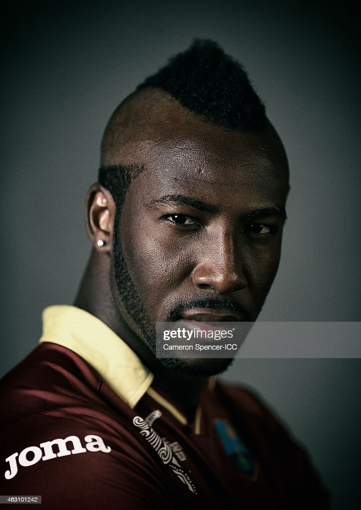 Andre Russell of the West Indies poses during the West Indies 2015 ICC Cricket World Cup Headshots Session at the Intercontinental on February 8, 2015 in Sydney, Australia.