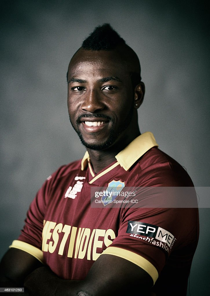 <a gi-track='captionPersonalityLinkClicked' href=/galleries/search?phrase=Andre+Russell&family=editorial&specificpeople=5348594 ng-click='$event.stopPropagation()'>Andre Russell</a> of the West Indies poses during the West Indies 2015 ICC Cricket World Cup Headshots Session at the Intercontinental on February 8, 2015 in Sydney, Australia.