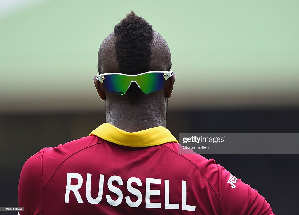 <a gi-track='captionPersonalityLinkClicked' href=/galleries/search?phrase=Andre+Russell&family=editorial&specificpeople=5348594 ng-click='$event.stopPropagation()'>Andre Russell</a> of West Indies during the ICC Cricket World Cup warm up match between England and the West Indies at Sydney Cricket Ground on February 9, 2015 in Sydney, Australia.