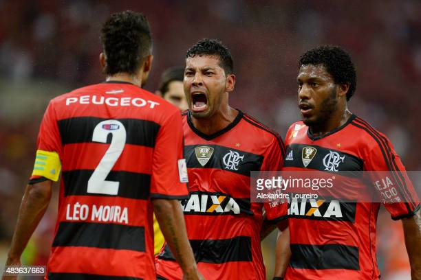 Andre Santos Leo Moura and Amaral of Flamengo celebrates a scored goal of Andre Santos during a match between Flamengo and Leon as part of Copa...