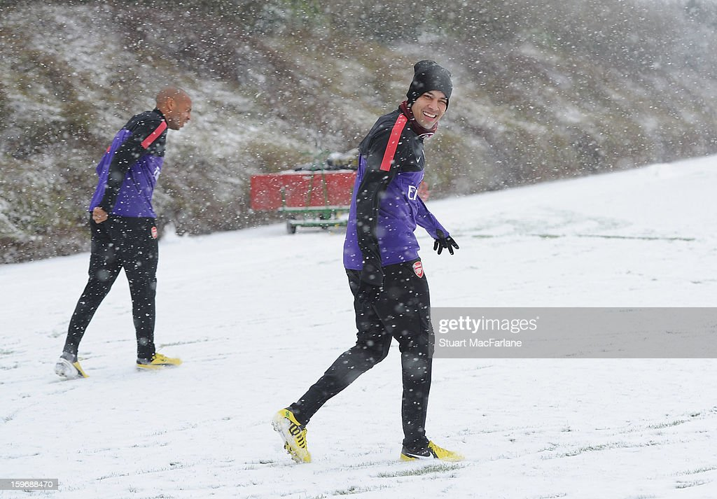 Andre Santos of Arsenal looks on during a training session at London Colney on January 18, 2013 in St Albans, England.