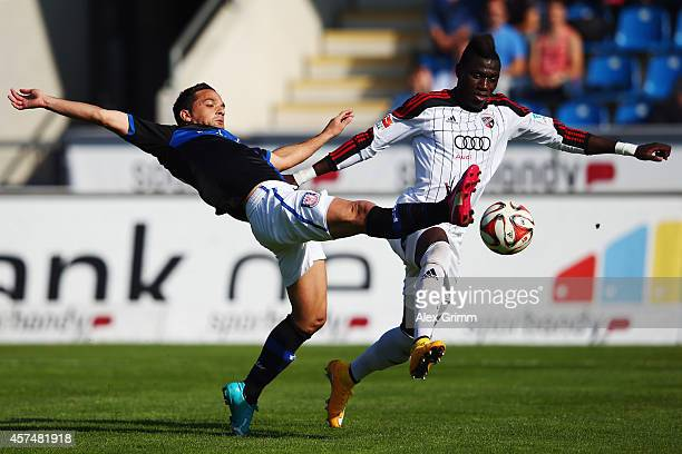 Andre Schembri of Frankfurt is challenged by Danny da Costa of Ingolstadt during the Second Bundesliga match between FSV Frankfurt and FC Ingolstadt...