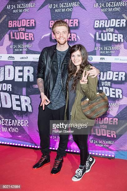 Andre Schiebler and Joyce Ilg attend the premiere for the film 'Bruder vor Luder' at Cinedom on December 20 2015 in Cologne Germany