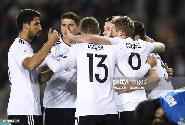 Andre Schrrle of Germany celebrates scoring the first goal with teamates during the FIFA 2018 World Cup Qualifing Group C between Azerbaijan and...