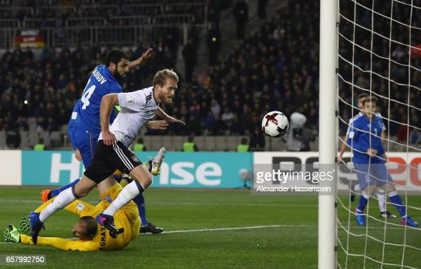 Andre Schrrle of Germany scores the first goal during the FIFA 2018 World Cup Qualifing Group C between Azerbaijan and Germany at Tofiq Bahramov...