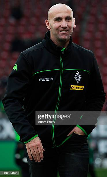 Andre Schubert head coach of Borussia Moenchengladbach before the Bundesliga match between FC Augsburg and Borussia Moenchengladbach at WWK Arena on...