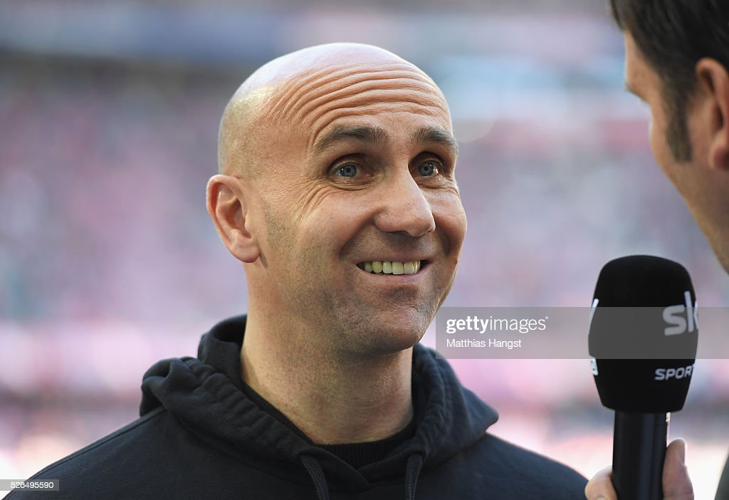 Andre Schubert, Head Coach of Borussia Moenchengladbach is interviewed prior to the Bundesliga match between Bayern Muenchen and Borussia Moenchengladbach at Allianz Arena on April 30, 2016 in Munich, Germany.