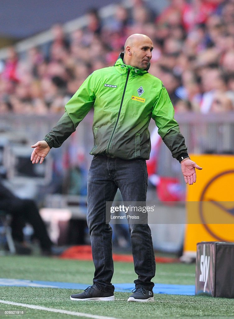 Andre Schubert, Head Coach of Borussia Moenchengladbach reacts during the Bundesliga match between Bayern Muenchen and Borussia Moenchengladbach at Allianz Arena on April 30, 2016 in Munich, Germany.