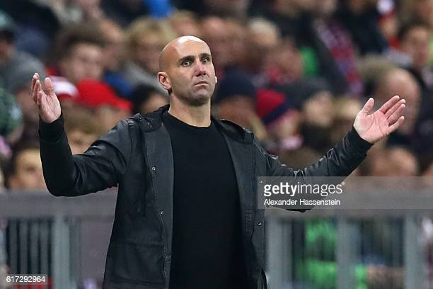 Andre Schubert head coach of Moenchengladbach reacts during the during the Bundesliga match between Bayern Muenchen and Borussia Moenchengladbach at...