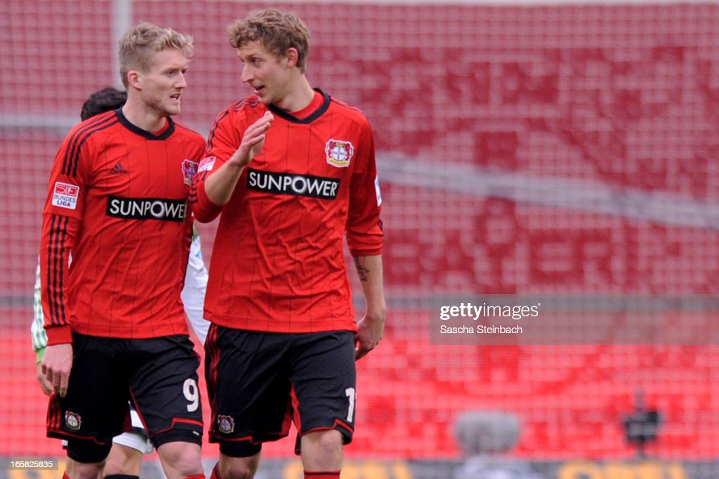 Andre Schuerrle (L) and Stefan Kiessling (R) of Leverkusen celebrate the first goal during the Bundesliga match between Bayer 04 Leverkusen and VfL Wolfsburg at BayArena on April 6, 2013 in Leverkusen, Germany.