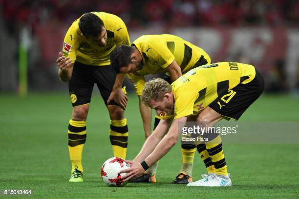 Andre Schuerrle of Burussia Dortmund places the ball for a free kick during the preseason friendly match between Urawa Red Diamonds and Borussia...