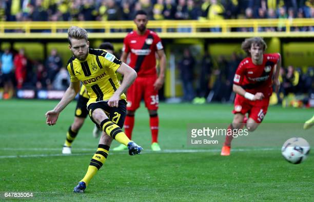 Andre Schuerrle of Dortmund scores his teams fifth goal during the Bundesliga match between Borussia Dortmund and Bayer 04 Leverkusen at Signal Iduna...