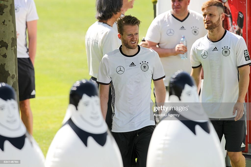 Andre Schuerrle of German National Football Team attends a training session at Lago Maggiore in Ascona, Switzerland on May 25, 2016. Germany's national soccer preparing for the upcoming UEFA EURO 2016 to be held in France in a training camp in Ascona, Switzerland, until 03 June.