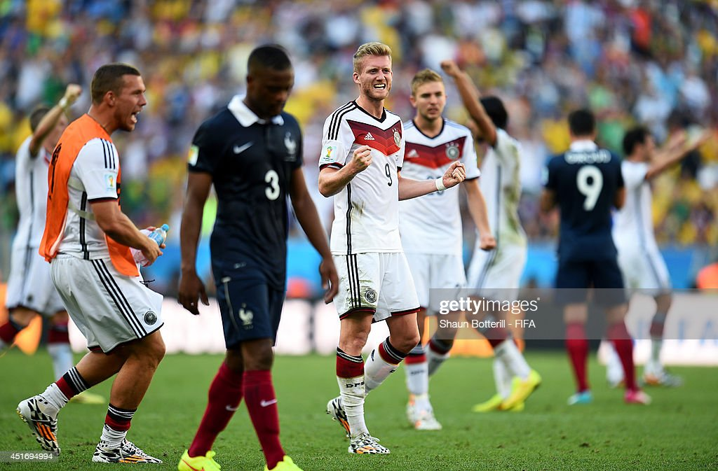 Andre Schuerrle of Germany celebrates the 1-0 win after the 2014 FIFA World Cup Brazil Quarter Final match between France and Germany at Maracana on July 4, 2014 in Rio de Janeiro, Brazil.