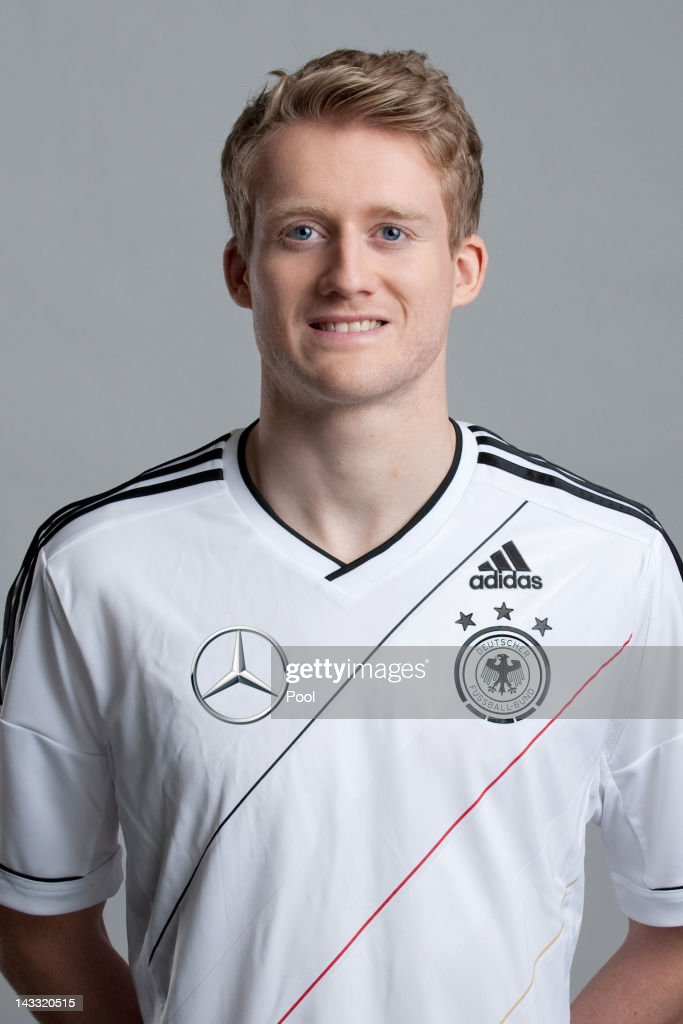 <a gi-track='captionPersonalityLinkClicked' href=/galleries/search?phrase=Andre+Schuerrle&family=editorial&specificpeople=5513825 ng-click='$event.stopPropagation()'>Andre Schuerrle</a> of Germany poses during a national team photocall on November 14, 2011 in Hamburg, Germany.