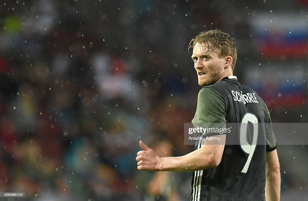 Andre Schuerrle of Germany reacts during the friendly football match between Germany and Slovakia at the WWK Arena in Augsburg, Germany on May 29, 2016.