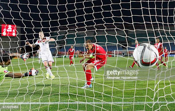 Andre Schuerrle of Germany scores his second goal and his team's fifth during the UEFA EURO 2016 Qualifier Group D match between Gibraltar and...