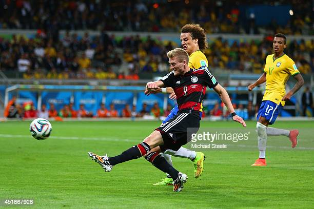 Andre Schuerrle of Germany scores his team's seventh goal and his second of the game during the 2014 FIFA World Cup Brazil Semi Final match between...
