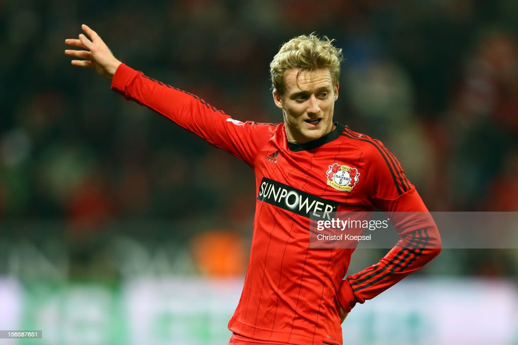 <a gi-track='captionPersonalityLinkClicked' href=/galleries/search?phrase=Andre+Schuerrle&family=editorial&specificpeople=5513825 ng-click='$event.stopPropagation()'>Andre Schuerrle</a> of Leverkusen celebrates the first goal during the Bundesliga match between Bayer 04 Leverkusen and FC Schalke 04 at BayArena on November 17, 2012 in Leverkusen, Germany.