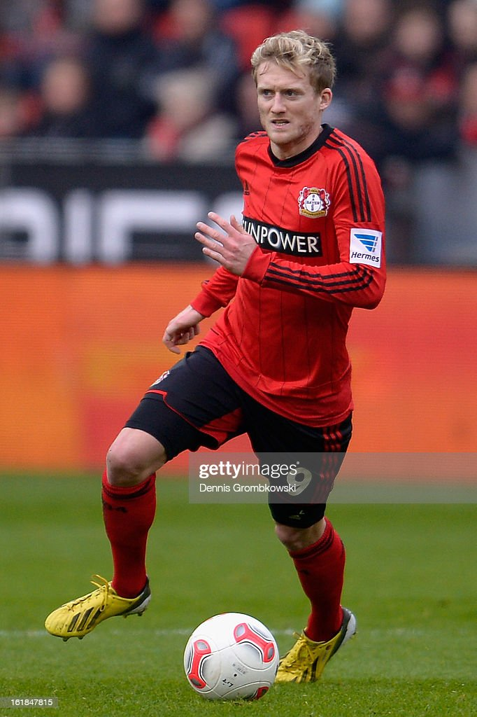 Andre Schuerrle of Leverkusen controls the ball during the Bundesliga match between Bayer 04 Leverkusen and FC Augsburg at BayArena on February 16, 2013 in Leverkusen, Germany.