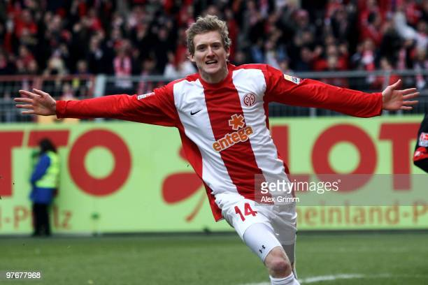 Andre Schuerrle of Mainz celebrates his team's first goal during the Bundesliga match between FSV Mainz 05 and 1 FC Koeln at the Bruchweg Stadium on...