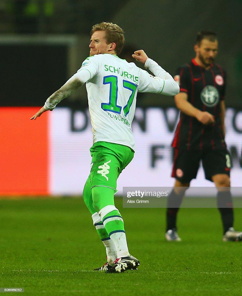 Andre Schuerrle of VfL Wolfsburg celebrates as he scores their second goal during the Bundesliga match between Eintracht Frankfurt and VfL Wolfsburg...