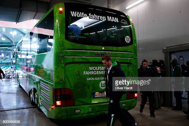 Andre Schuerrle of Wolfsburg arrival to the First Bundesliga match at between VfL Wolfsburg and Borussia Dortmund at Volkswagen Arena on December 5...