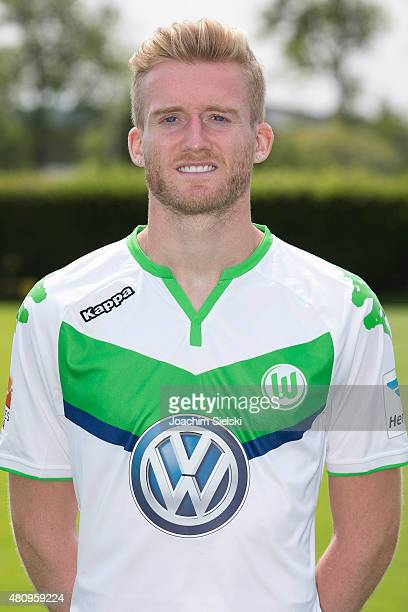 Andre Schuerrle poses during the team presentation of VfL Wolfsburg at Volkswagen Arena on July 16 2015 in Wolfsburg Germany