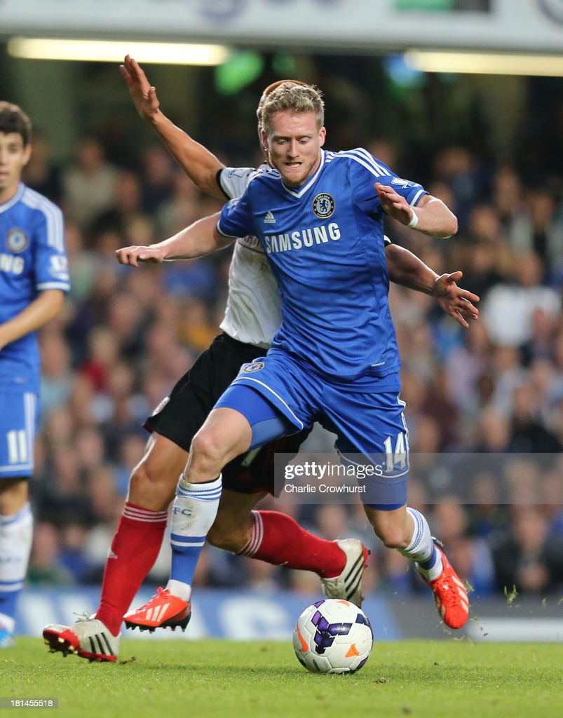 Andre Schurrle of Chelsea attakcs during the Barclays Premier League match between Chelsea and Fulham at Stamford Bridge on September 21, 2013 in London, England.