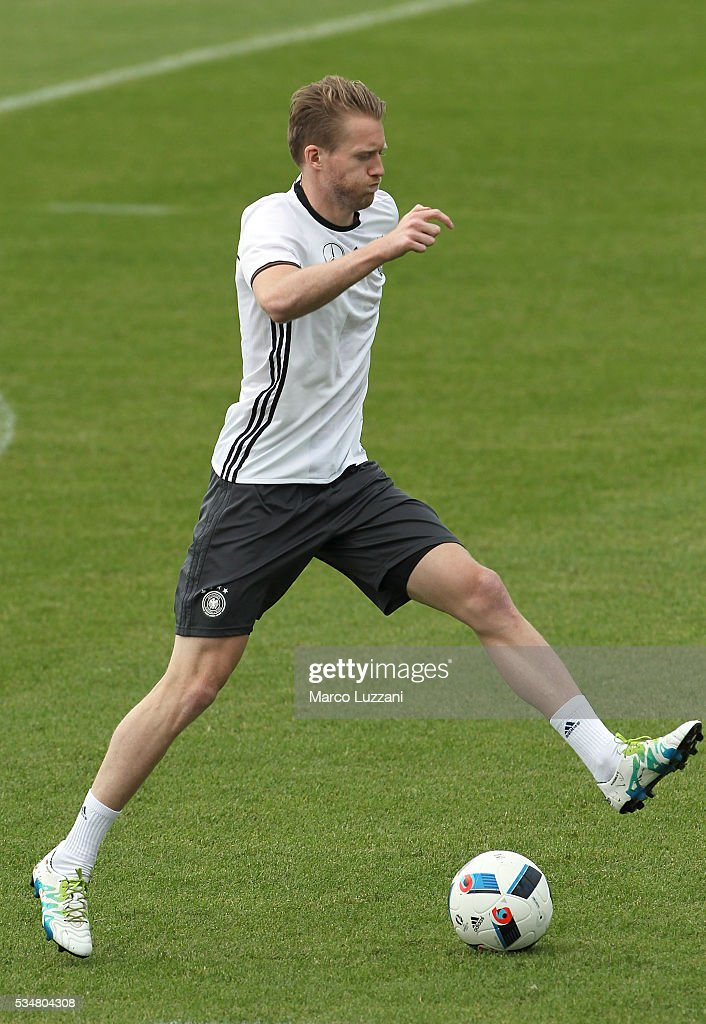 Andre Schurrle of Germany in action during the German national team's pre-EURO 2016 training camp on May 28, 2016 in Ascona, Switzerland.