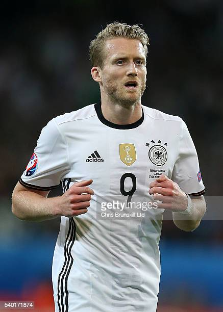 Andre Schurrle of Germany in action during the UEFA Euro 2016 Group C match between Germany and Ukraine at Stade PierreMauroy on June 12 2016 in...